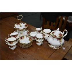 Royal Albert Old Country Roses china tea set including teapot, trivet, open cream, sugar with tray,