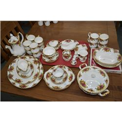Selection of Royal Albert Old Country Roses china including six each of two different types of coffe