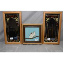 Vintage hand signed and framed tile by Dutch artist Kooz circa 1920 and two Nouveau style mirrors, o