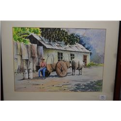 "Framed original watercolour of an oxen cart with driver, signed by artist Afernandez '84, 10"" X 14"""