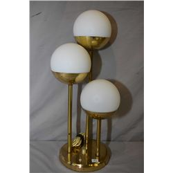 "Mid 20th century three branch brass coloured and satin glass table lamp, 24"" in height"