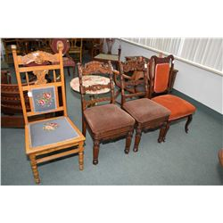 Four antique side chairs including a pair of heavily carved oak framed chairs with upholstered seats