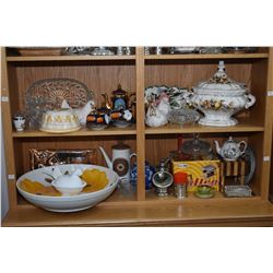 Two shelf lot of collectibles including large lidded tureen with ladle, Imari tea set, miniature but