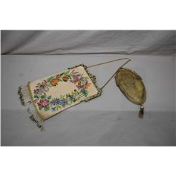 Two antique purses including beaded purse with semi precious stones in frame and an antique sterling