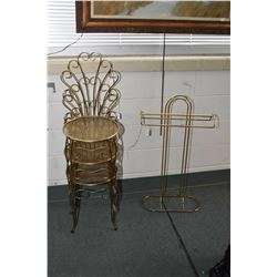 Three matching brass coloured peacock fan solarium chairs and brass valet