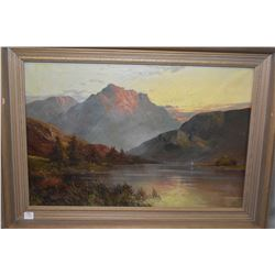 "Framed antique Scottish highland painting titled on frame ""Loch Shiel"" and signed by artist F. E. Ja"