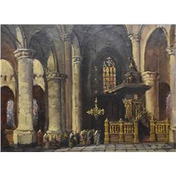 "Framed oil on canvas painting of a French church interior signed by artist Henri Hisser (?), 16"" X 2"