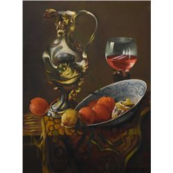 "Framed oil on canvas still-life painting featuring wine and fruit signed by artist F. Domingo, 32"" X"