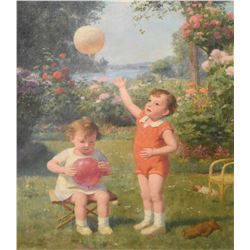 Gilt framed oil on canvas painting of children with balloons by French artist Victor Gabriel Gilbert