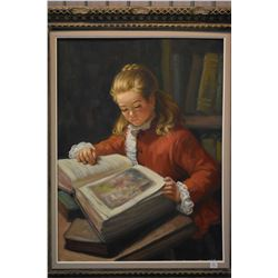 Framed original oil on canvas painting featuring a young lady reading a book signed by artist A. Pla