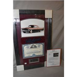 Framed original Studebaker-Packard Corporation stock certificate circa 1954 with framed coloured pri