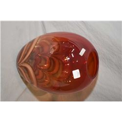 "Evolution by Waterford red, amber ginger swirl art glass vase 11"" in height"
