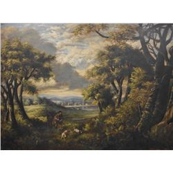 "Framed antique oil on canvas painting of a hunt scene, no artist signature seen, 30"" X 40"""
