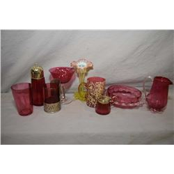 Tray lot of vintage cranberry glass including sugar caster, water glass, lidded spooner, candleholde