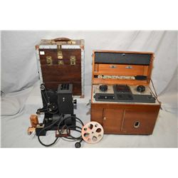 Vintage Kodascope Eight model 50 movie projector in shop made wooden case and a mahogany cased quack