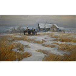 """Framed oil on massonite painting titled on verso """"Evening Storm, (Alta) signed by artist Orestes Nic"""