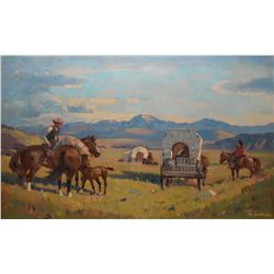 """Framed oil on canvas painting of a pioneer wagon train signed by artist Theodoor Marie Schintz, 16"""""""