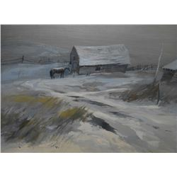 """Framed oil on panel painting titled on verso """"Greyscape, Alberta"""" by artist Orestes Nicholas (Rick)"""