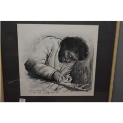 """Framed original charcoal on paper titled """"Makpa making Kayak"""" signed in Engish and syllabics by arti"""