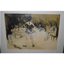 Framed etched print of a ballet studio pencil signed by artist (Jean) Jansem, E.A 12/30 (artist proo