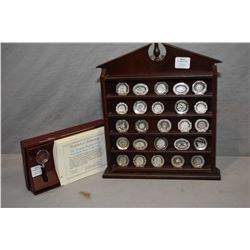 """Franklin mint """"The Antique English Silver Miniature Plate Collection"""" including all 25 miniature ste"""