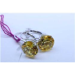 Pair of 14kt white gold lever back earrings set with citrine gemstones