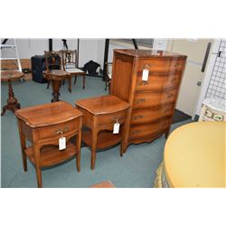 Quality circa 1960 bedroom suite including five drawer highboy, nine drawer mirrored dresser, two ni