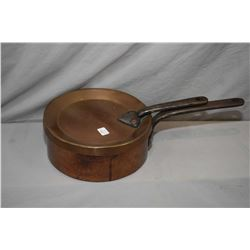 Antique convertible copper pot with combination lid/frying pan and heavy steel handles made by Smit.