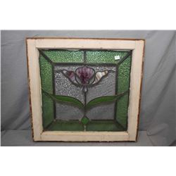 """Antique tulip motif stained glass window, overall dimensions 23"""" X 24"""""""