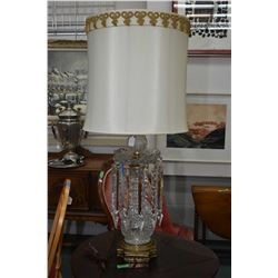 """Large quality crystal table lamp with hanging lustres, base to top of crystal ball 25"""" in height"""