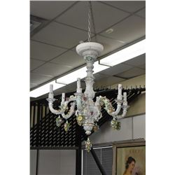 Six branch Dresden porcelain chandelier with hanging floral drops