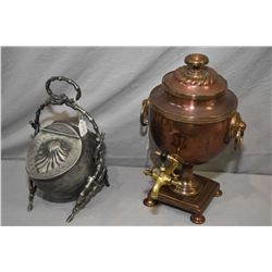 """Small brass and copper samovar style beverage dispenser 12 1/2"""" in height and a very interested doub"""