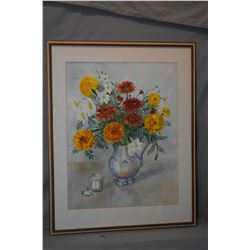 Framed original watercolour still-life featuring marigolds and daisies etc. signed by artist Wyn Van