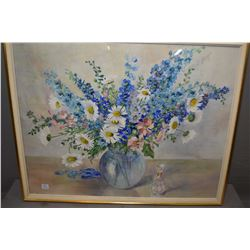 Framed original watercolour still-life featuring wild flowers in a vase and a figurine etc. signed b