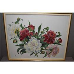 "Framed original watercolour still-life featuring peonies, signed by artist Wyn Van Slyck, 20"" X 25"""