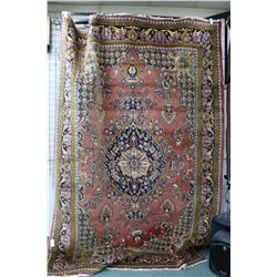 100% wool Iranian Mahalat area carpet with rose colour background, center medallion, overall floral