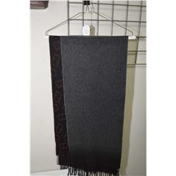 Two scarves including Black Brown 100% cashmere geometric wool scarf
