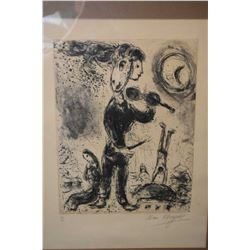 Framed limited edition lithograph of a violin player, pencil signed by artist Marc Chagall, 30/35, 1