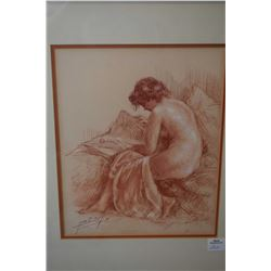 """Original sanguine chalk drawing of a nude by French artist Yves Diey, 10 1/2"""" X 8 1/2"""""""