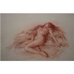"""Original sanguine chalk drawing of a nude by French artist Yves Diey, 9 1/2"""" X 13"""""""