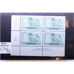 Large selection of non-circulated Canadian collectible postage stamps, all in joined set of four, al