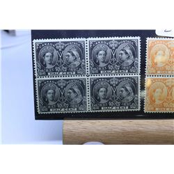 Five sets of four Canadian joined postage stamps, all in very fine condition, all featuring images o
