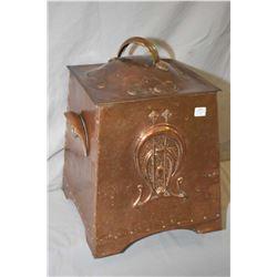 Antique art nouveau hammered copper coal hod with original liner