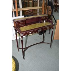 Antique style French ladies delicate writing desk with leather inset writing surface, top galley wit