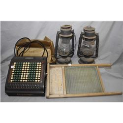 Selection of primitives including two Beacon barn lanterns, wood and glass washboard and a Felt & Ta