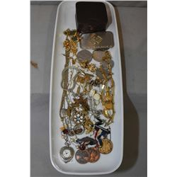 Selection of collectible jewellery, coins and medallions including gent's cufflinks and tie pins, st