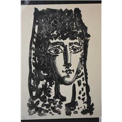 Framed limited edition lithograph of a Spanish female portrait, attributed to Pablo Picasso, 237/245