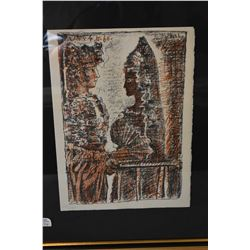 Framed limited edition two colour lino cut featuring a couple, hand numbered 237/245 and attributed