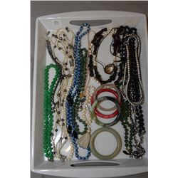 Selection of ladies jewellery including stone and jade necklaces, bangles, fresh water pearls etc.