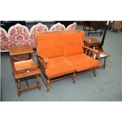 Krug made maple parlour set including loveseat, parlour chair and two single drawer step tables